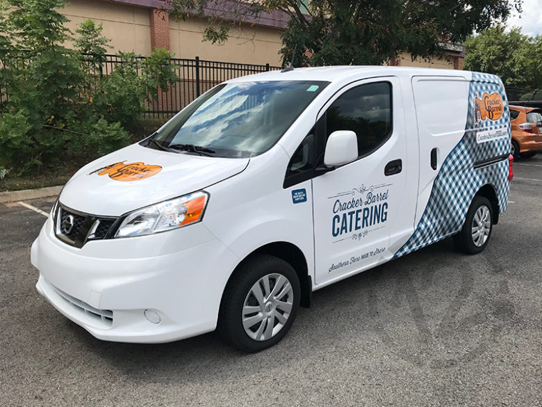 Custom vehicle wrap for Cracker Barrel Catering by 12-Point SignWorks.