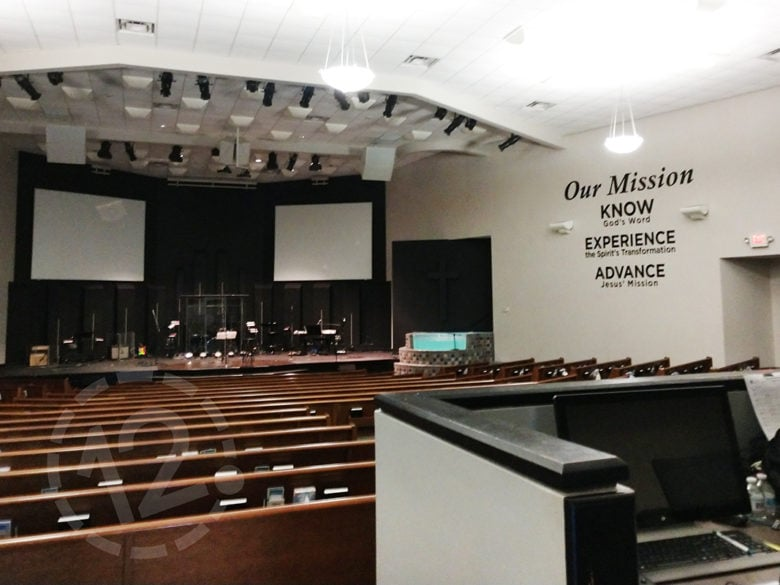 Vinyl wall letters for Franklin Christian Church installed by 12-Point SignWorks in Franklin, TN.
