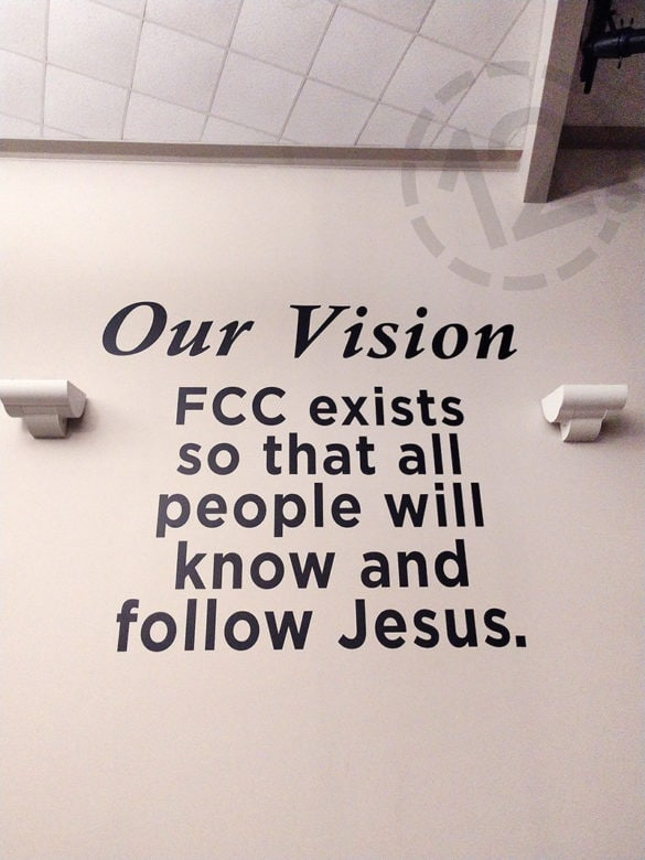 Custom vinyl lettering for Franklin Christian Church installed by 12-Point SignWorks in Franklin, TN.