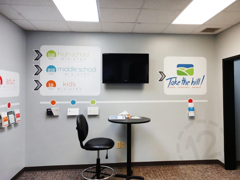 Custom vinyl wall graphics for Franklin Christian Church in Franklin, TN printed and installed by 12-Point SignWorks.