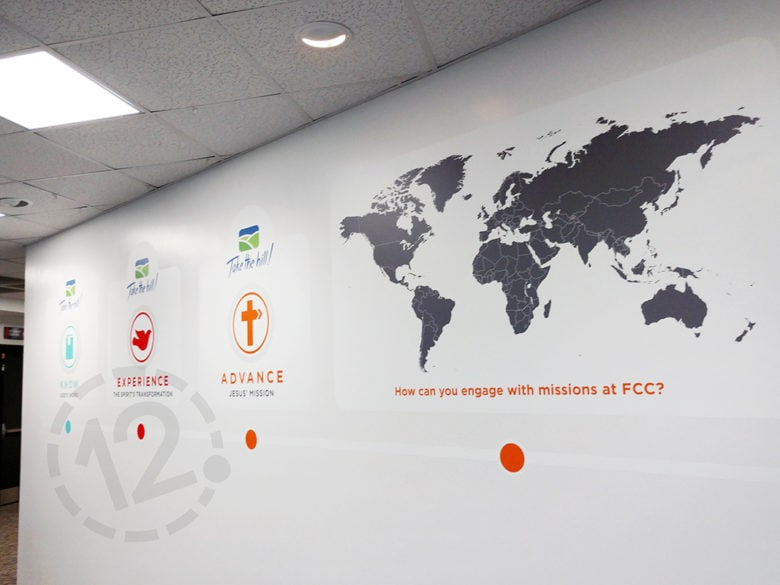 Custom wall graphics for Franklin Christian Church printed and installed by 12-Point SignWorks.