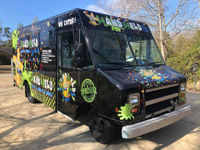 Custom food truck wrap for HandHeld in Murray, KY by 12-Point SignWorks.