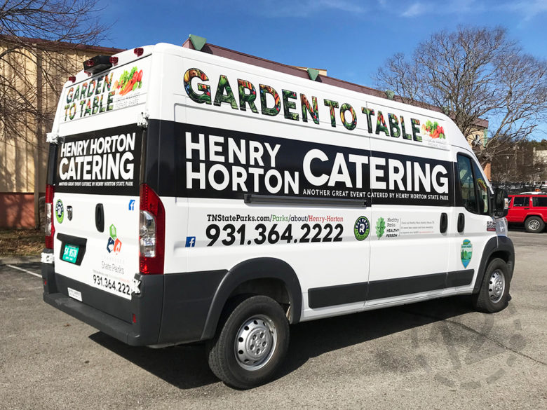 Custom vehicle wrap for Henry Horton Catering by 12-Point SignWorks in Franklin, TN.