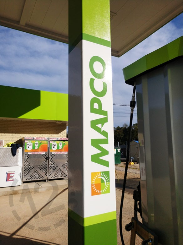 Custom vinyl graphics for Mapco printed and installed by 12-Point SignWorks.