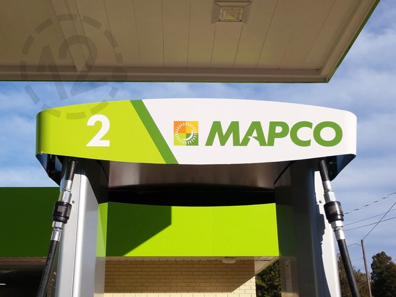 Custom facility graphics for Mapco printed and installed by 12-Point SignWorks.