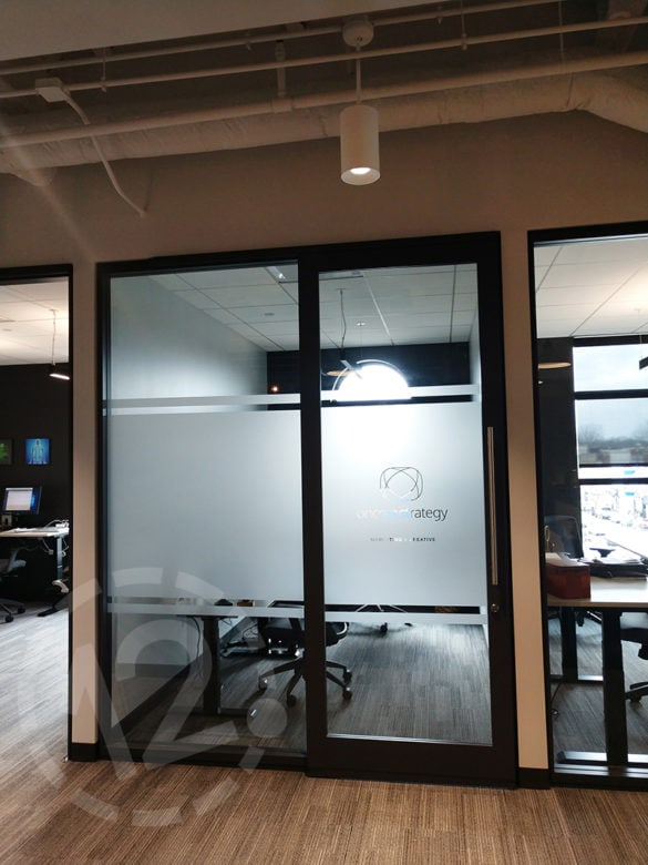 Custom etched vinyl for OnCore Strategy at E|SPACES in Franklin, TN.