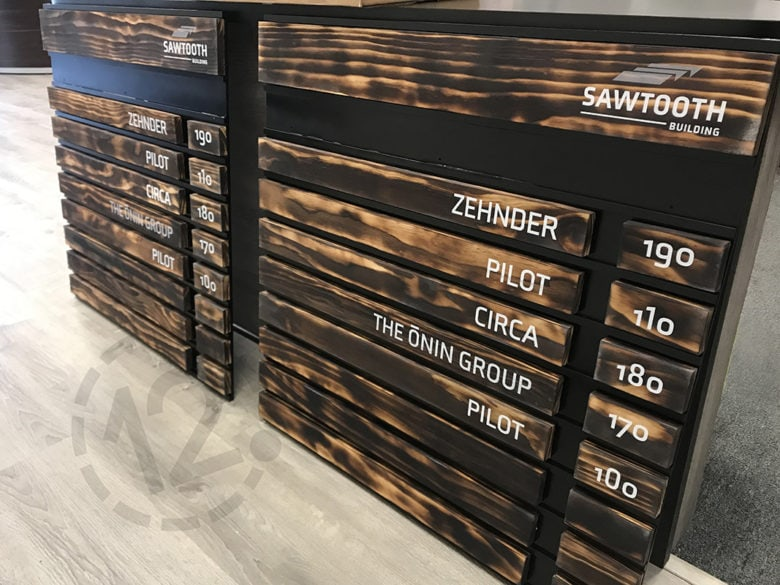 Custom directory signs for the Sawtooth Building in Nashville, TN fabricated by 12-Point SignWorks.