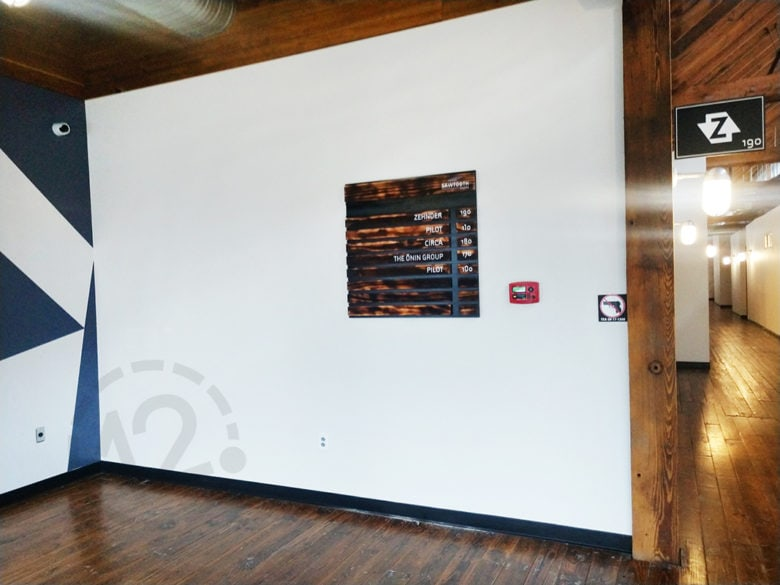 Custom directory sign for the Sawtooth building in Nashville, TN fabricated by 12-Point SignWorks.