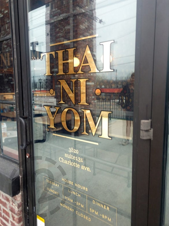 Custom window graphics for Thai Ni Yom in Nashville, TN by 12-Point SignWorks.