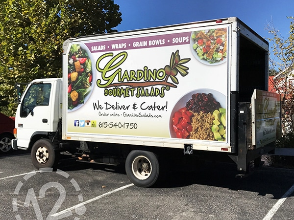 Custom tensioned banner for Giardino's Gourmet Salads by 12-Point SignWorks in Franklin, TN.