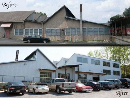 Before and after photos of the Sawtooth Building in Nashville, TN.