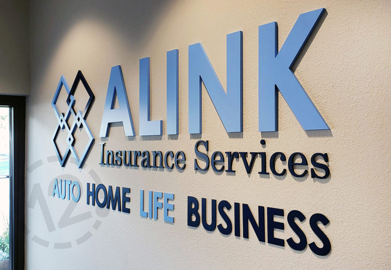 Custom logo for ALINK Insurance Services by 12-Point SignWorks.