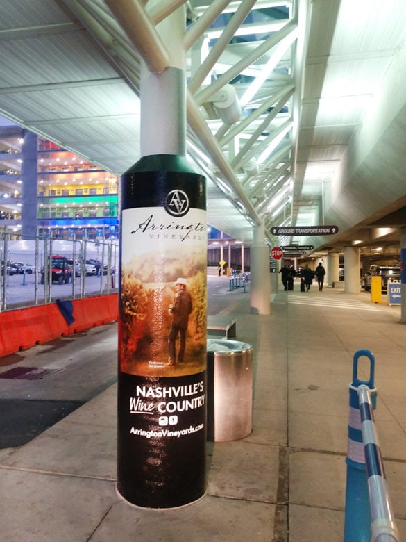Airport column wrap for Arrington Vineyards printed and installed by 12-Point SignWorks.