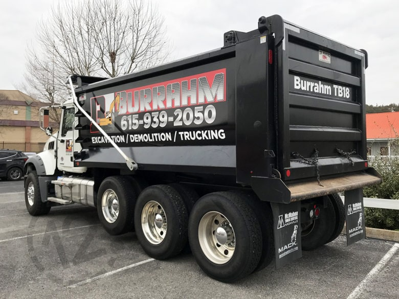 Custom truck wrap for Burrahm Construction in Lewisburg, TN by 12-Point SignWorks.