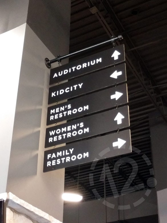 Custom wayfinding signage for The Church of the City in Spring Hill, TN by 12-Point SignWorks.