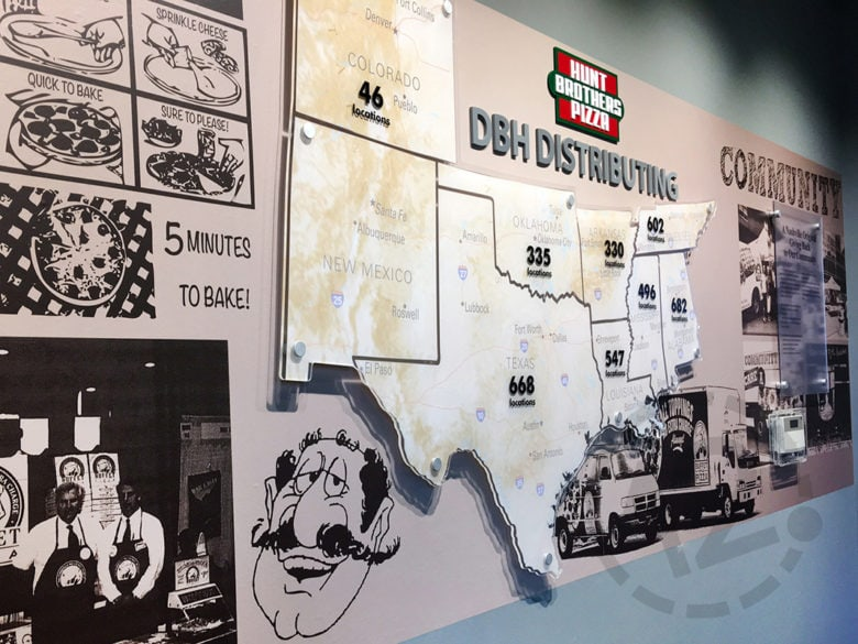 Custom architectural display for Hunt Brothers Pizza by 12-Point SignWorks in Franklin, TN.