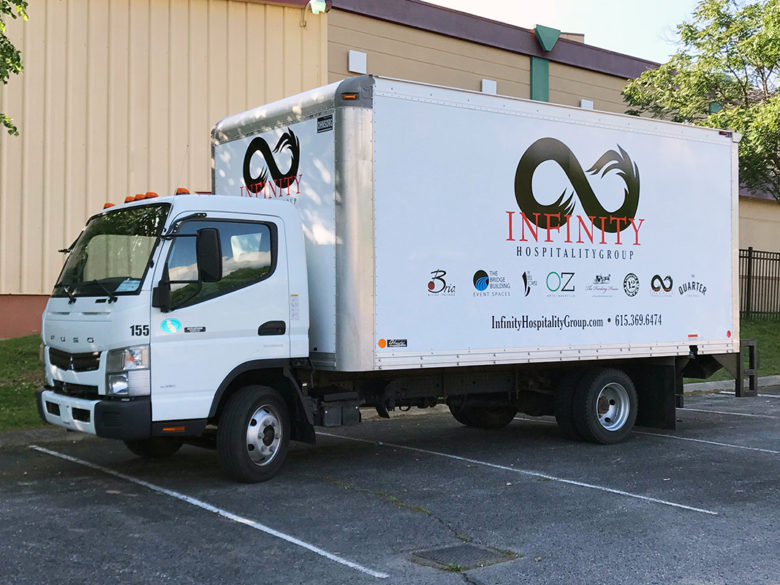 Older vehicle graphics for Infinity Hospitality.