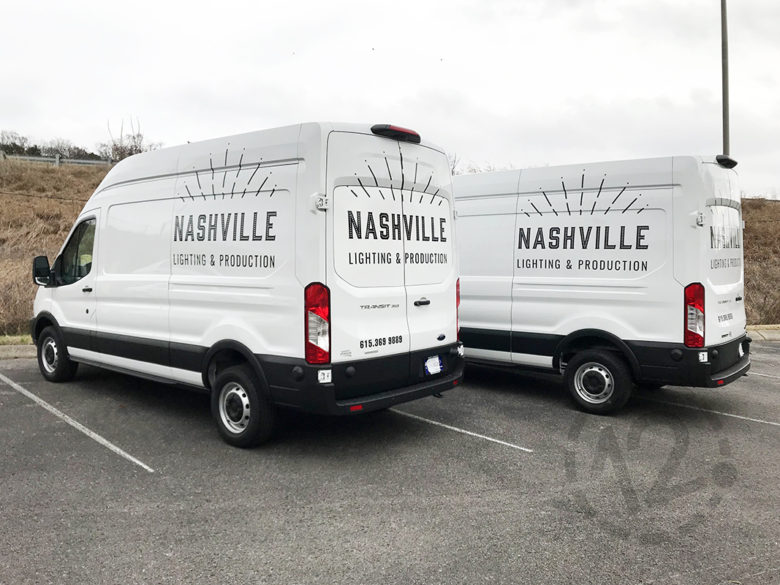 Custom vehicle graphics for Nashville Lighting & Production by 12-Point SignWorks.