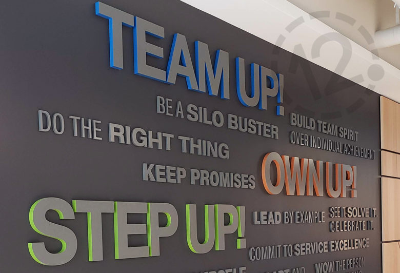Custom word wall display for SF Police Credit Union fabricated and installed by 12-Point SignWorks.