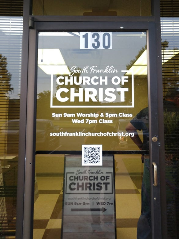Custom window graphics for South Franklin Church of Christ by 12-Point SignWorks in Franklin, TN.