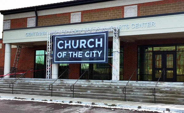 Mesh banner for The Church of the City by 12-Point SignWorks in Franklin, TN.
