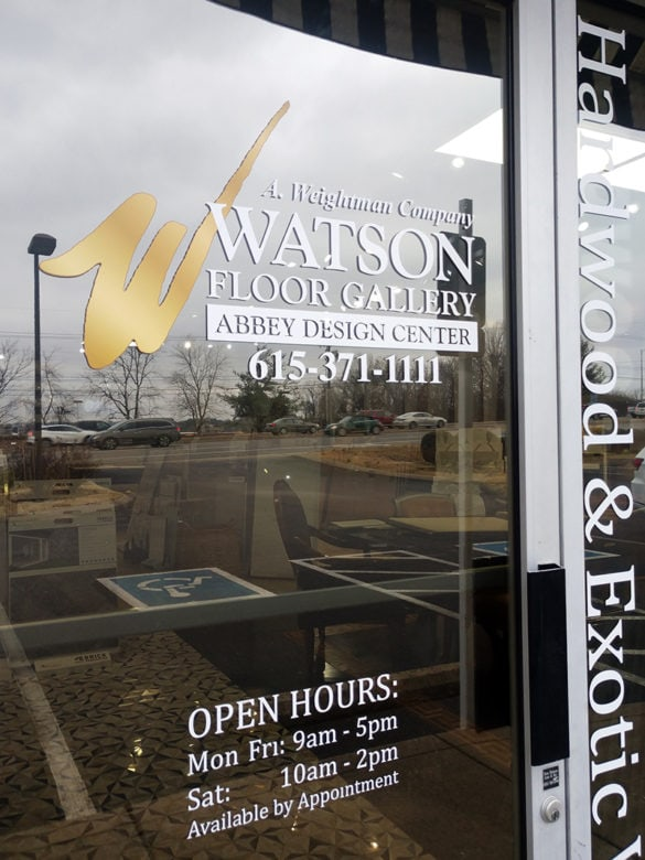 Contour cut window graphics for Watson Floor Gallery by 12-Point SignWorks in Franklin, TN.