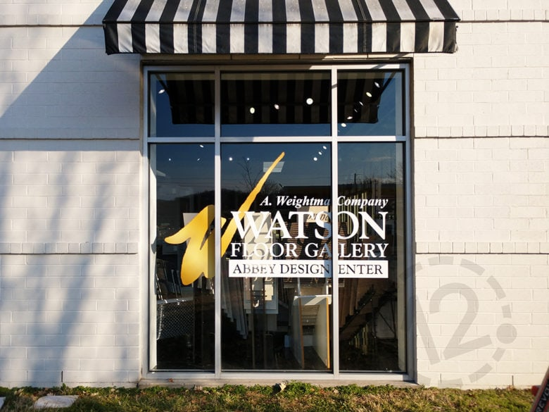 Custom window graphic for Watson Floor Gallery in Brentwood, TN by 12-Point SignWorks.