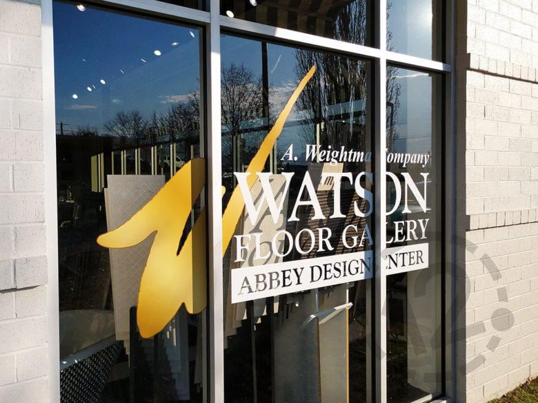 Custom window graphics for Watson Floor Gallery by 12-Point SignWorks in Franklin, TN.