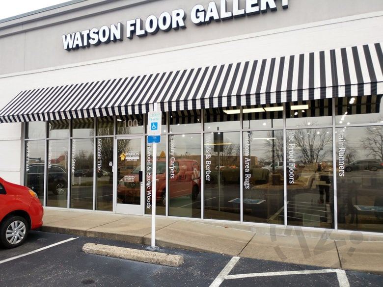 Custom window graphics for Watson Floor Gallery in Brentwood, TN by 12-Point SignWorks.