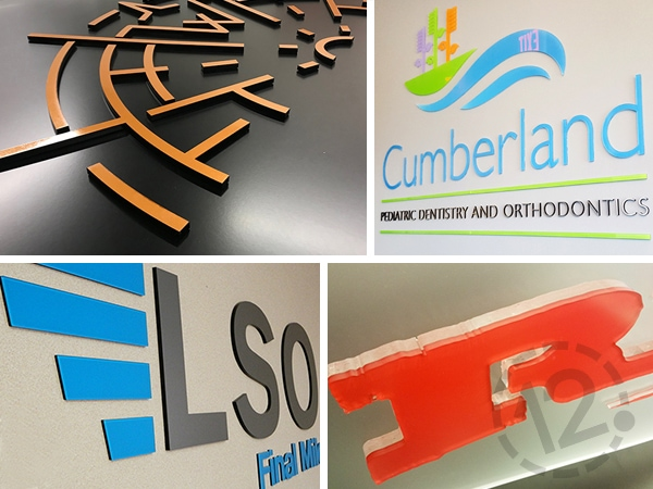 Acrylic Letters and Shapes with Colored Vinyl by 12-Point SignWorks.