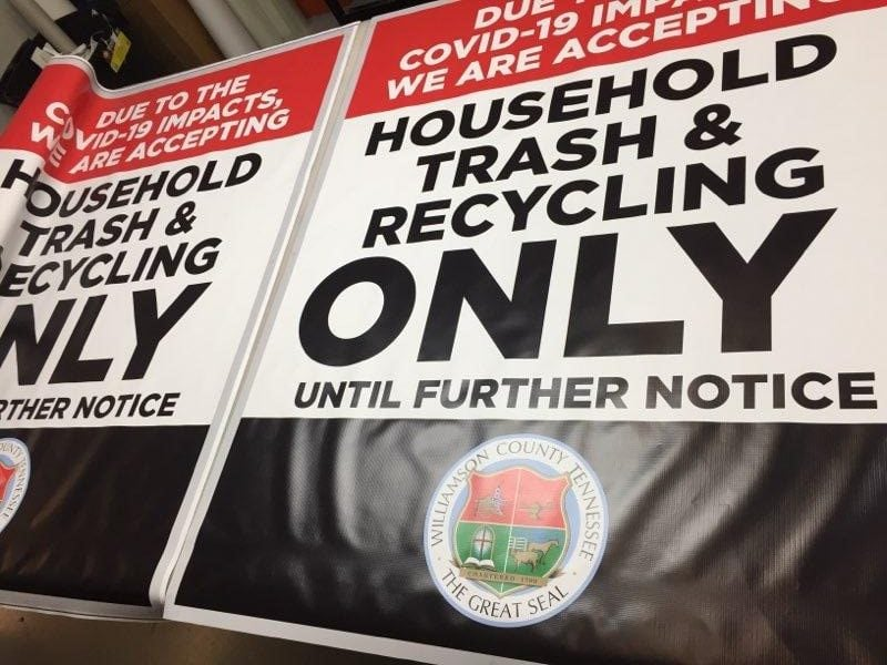 Banners with Williamson County Solid Waste Policy Update by 12-Point SignWorks