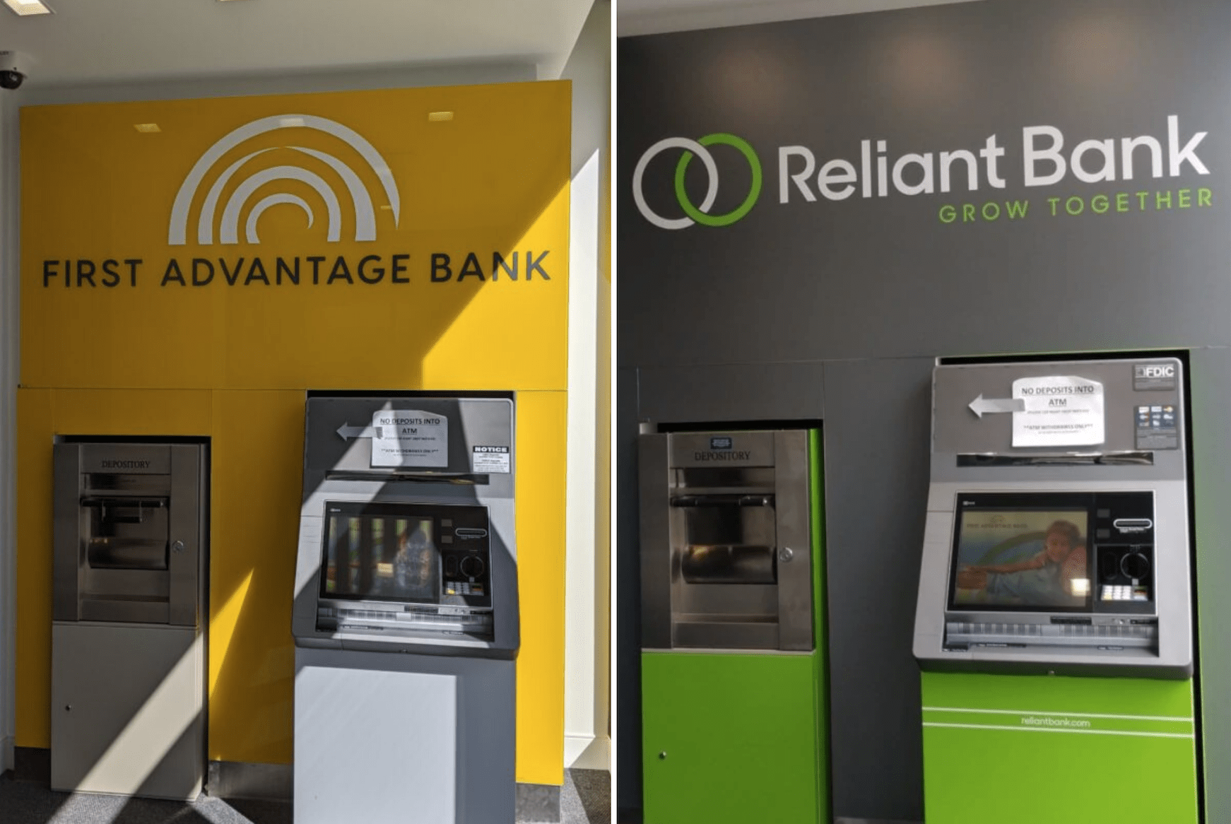 Before & After Of Reliant Bank's Rebrand (Merger)