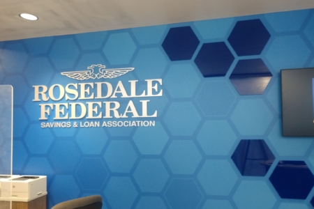 Dimensional Logo and Custom Wallcovering for Rosedale Federal S&L Association/ 12-Point SignWorks/ NewGround