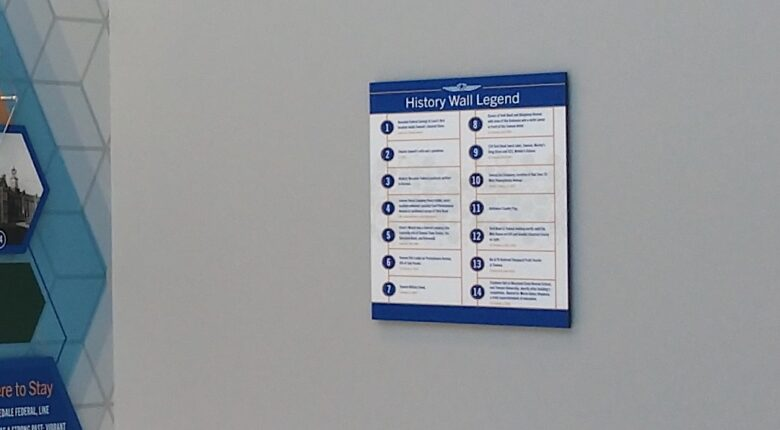 History Wall Legend for Rosedale Federal installed by 12-Point SignWorks