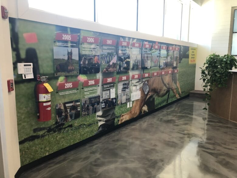Timeline Display and Facility Branding Graphics for Nashville K-9 by 12-Point SignWorks