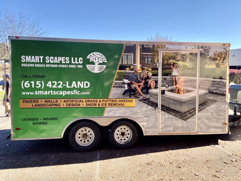 Trailer Wraps for Smart Scapes LLC installed by 12-Point SignWorks