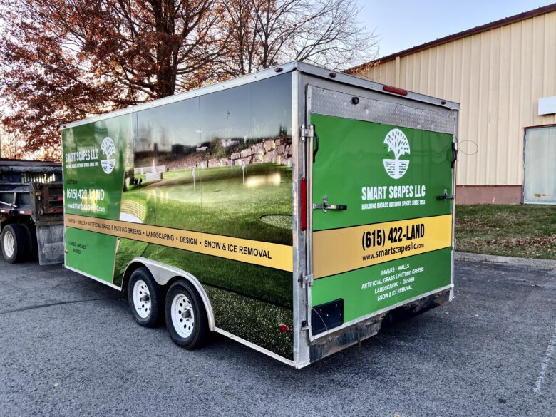 Custom Trailer Wraps for Smart Scapes LLC installed by 12-Point SignWorks