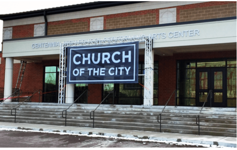 Custom Banner for Church of the City by 12-Point SignWorks