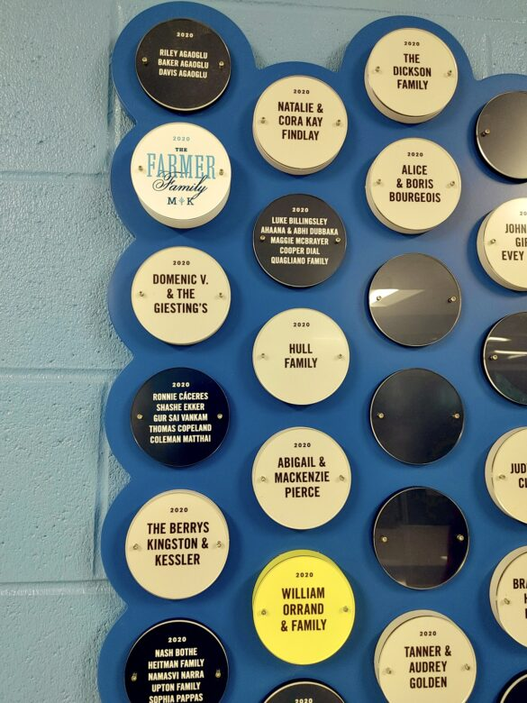 Donor Legacy Wall Display for Creekside Elementary in Franklin, TN