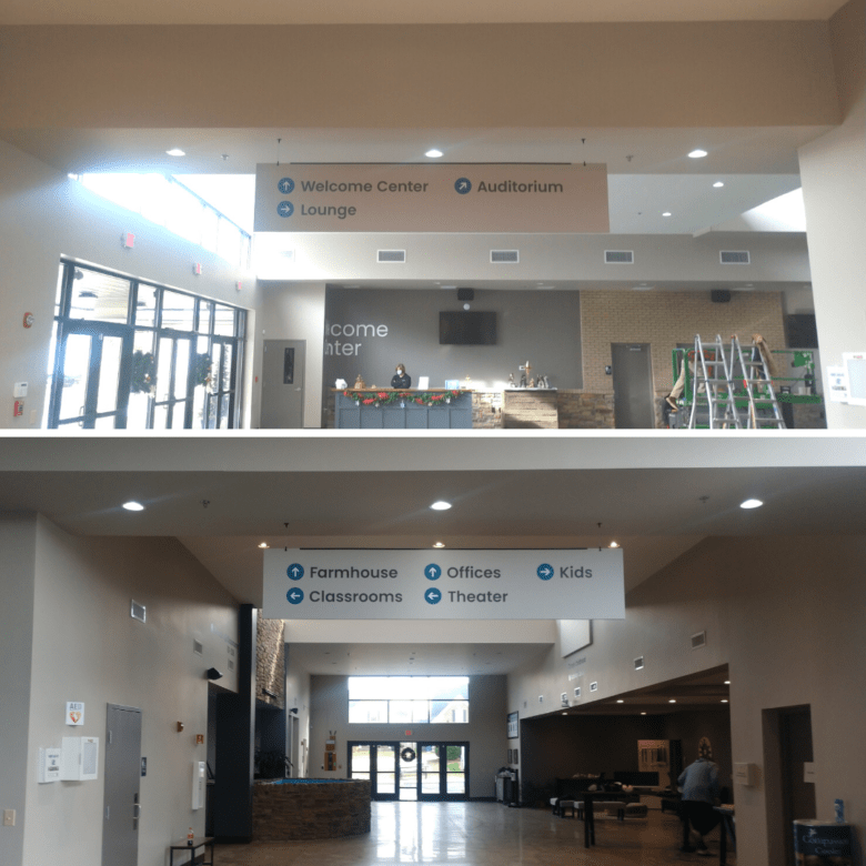 Hanging Signs Installed by 12-Point SignWorks for WellSpring Christian Church