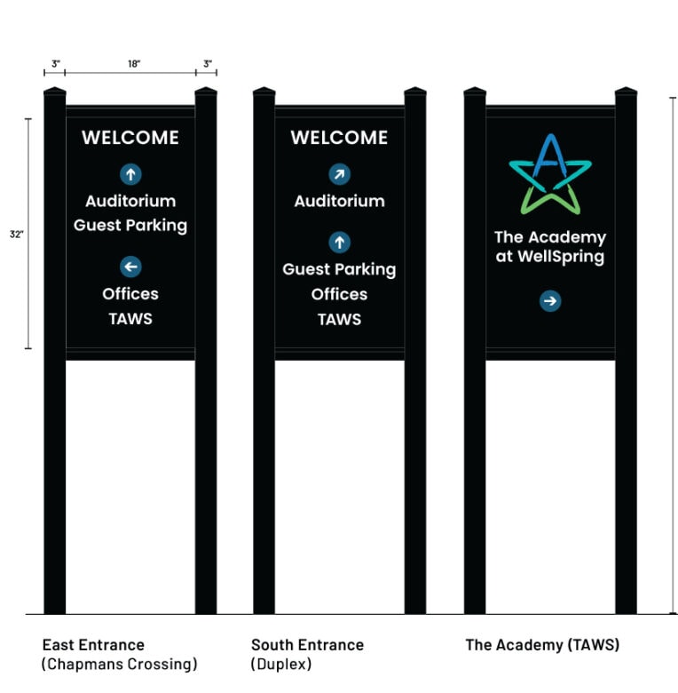 Design Proof of Custom Entrance Signs for WellSpring Christian Church