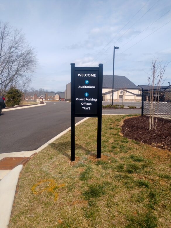 Directional Entrance Sign for WellSpring Christian Church in SpringHill TN