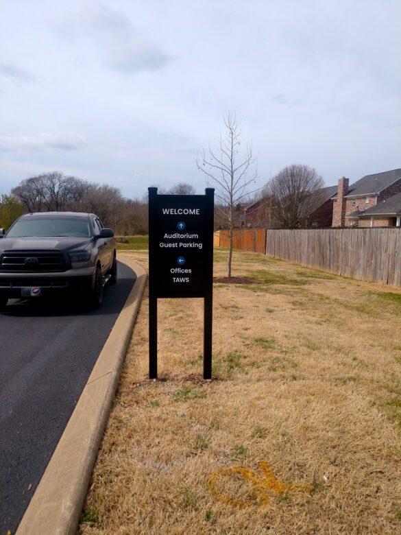 Aluminum Directional Sign Panel for WellSpring Christian Church
