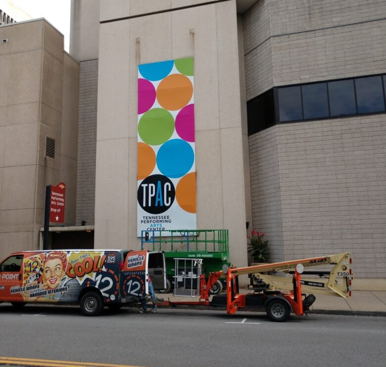 Vibrant Wall Mural for Tennessee Performing Arts Center/ Outdoor Signage/ 12-Point SignWorks