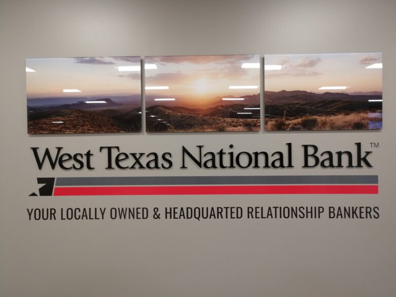 Custom Branding Graphics/ Wall Display for West Texas National Bank/ 12-Point SignWorks/ NewGround