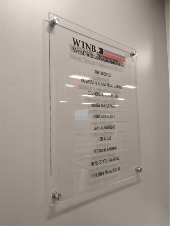 Custom Acrylic Panel - List of Services for West Texas National Bank/ 12-PointSignWorks/ NewGround