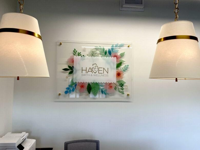 Custom Lobby Lobby Sign for Haven Birth & Wellness