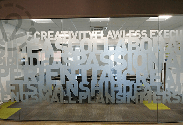 Etched Glass Vinyl architectural signage